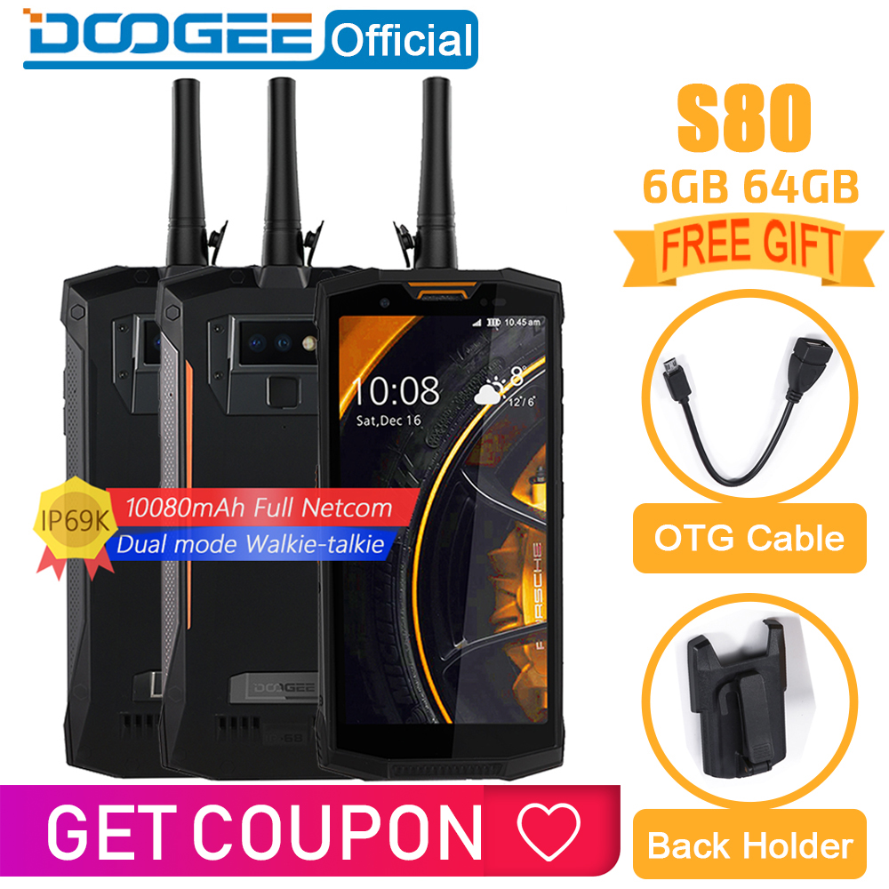 Ip68/ip69k walkie talkie doogee s80 carga sem fio do telefone móvel nfc 10080 mah 12v2a 5.99 fhd helio p23 octa núcleo 6 gb 64 gb 16.0 m