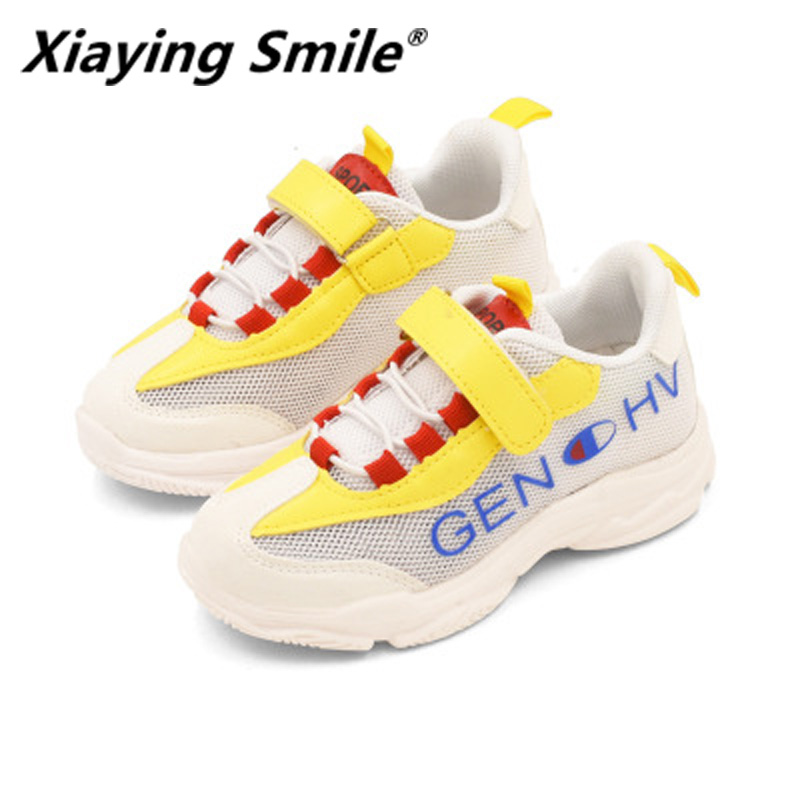 Xiaying Smile Children Shoes Girl Sports Shose 2018 Summer Fashion Breather Boy Sole Upper Linking Child Casual Shoes