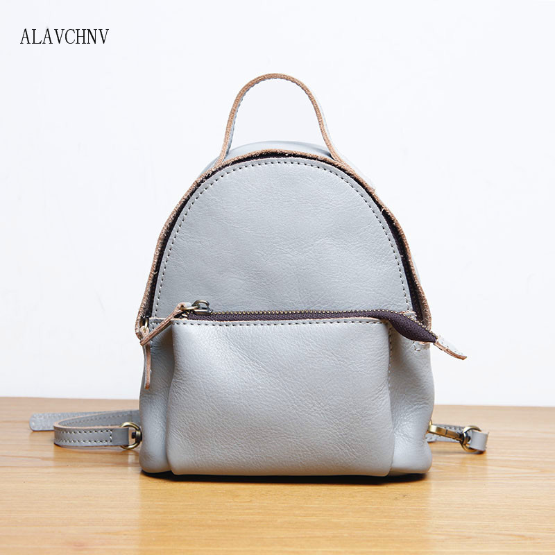 ALAVCHNV women leather backpack cowhide mini backpack Japanese family  backpack shoulder bag 03 fcc48fc015474