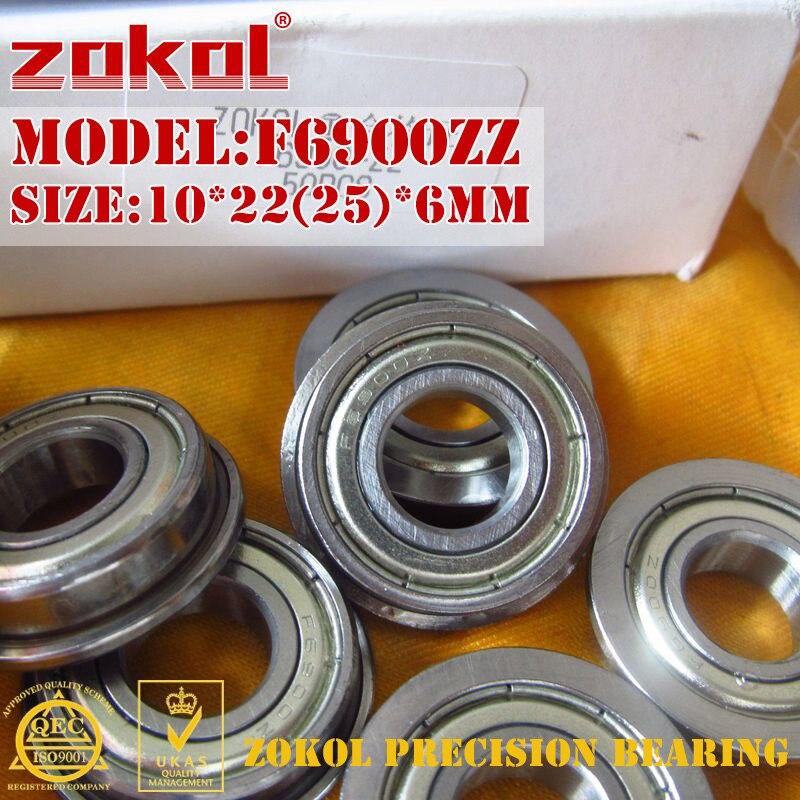 ZOKOL F6900 ZZ bearing F6900ZZ Flange bearing F6900-ZZ Deep Groove ball bearing 10*22(25)*6mm anet f623zz 10pcs deep groove flange ball bearing for 3d printer