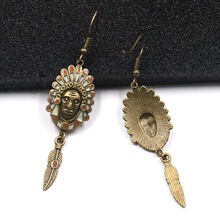 Vintage Punk Style Human Face Earrings Jewelry Indian Chief Portrait Drop Earrings With Feather Tassel Steampunk Earings Jewelry
