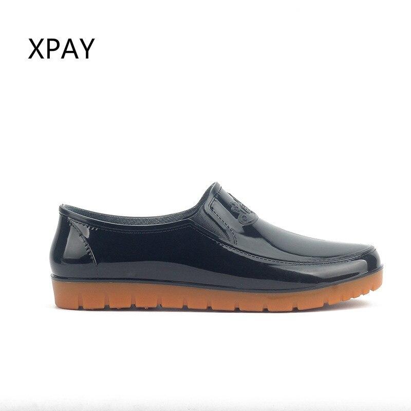 Black Non-slip Rain Boots Men Low Gumboots Work Rubber Shoes Fashion  Galoshes