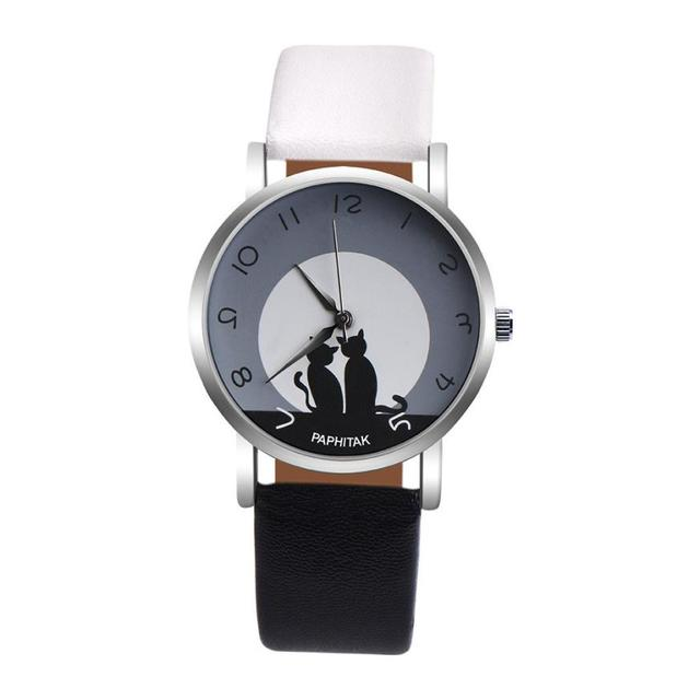 OTOKY Women Watches Cute Cat Faux Leather Strap Relojes mujeres Analog Quartz Wa