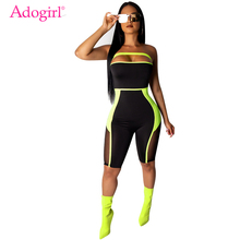 Adogirl Sheer Mesh Color Patchwork Strapless Jumpsuit Fashion Sexy Knee Length Romper Women Slim Playsuits Summer Body Suits