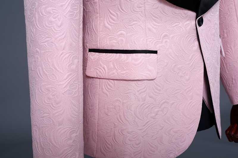 PYJTRL 男性ショールラペルピンクジャカードスリムフィット 3 点スーツ宴会パーティー結婚式のスーツ喫煙 Masculino タキシード