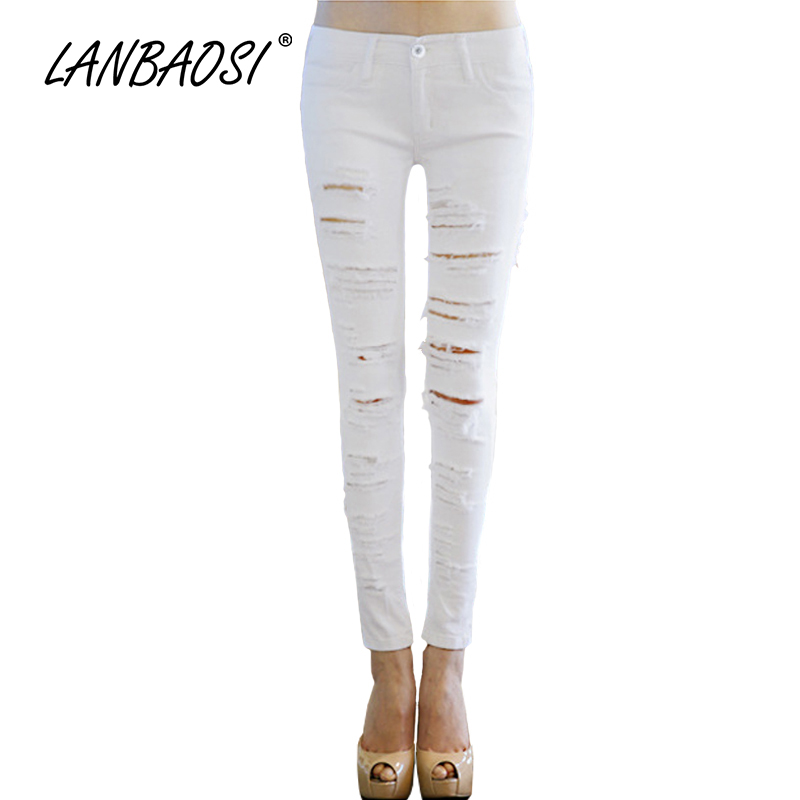 LANBAOSI Fashion Women s Torn Jeans Pencil Pants Sex Casual Slim Ripped Hole Vintage Denim Trousers