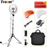Luz de anillo de iluminación de estudio de foto de TRAVOR 14 pulgadas 196 piezas LED lámpara de anillo regulable con trípode de clip de teléfono para youTube