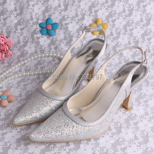 Custom Handmade Magic Custom High Heels Pointed Toe Silver Wedding Shoes Bridal