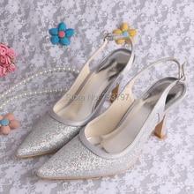 Пользовательские Ручной Магия Пользовательские Высокие Каблуки Острым Носом Серебряные Свадебные Туфли Свадебные
