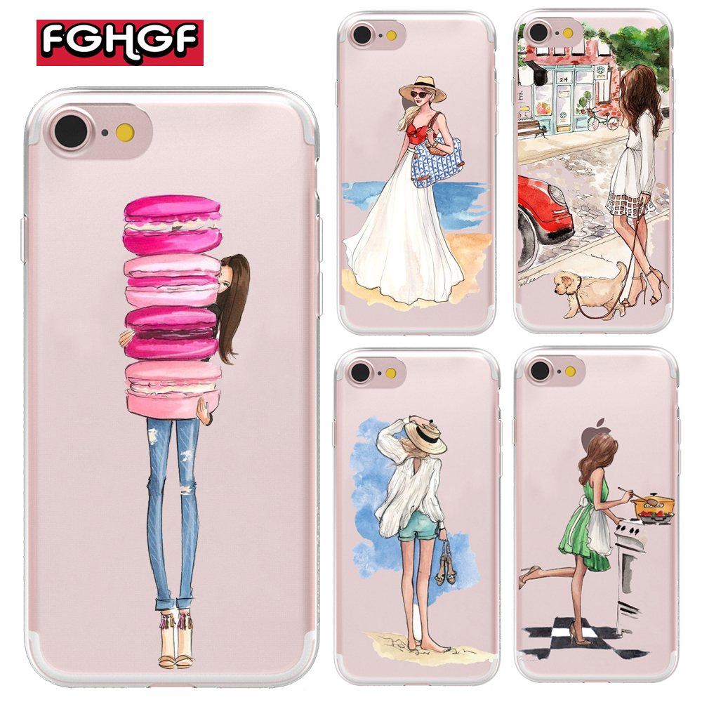 Fashion Classy Paris Girl Summer Legs Travel Relax Beach Macaroon Soft Phone Case For iPhone 6