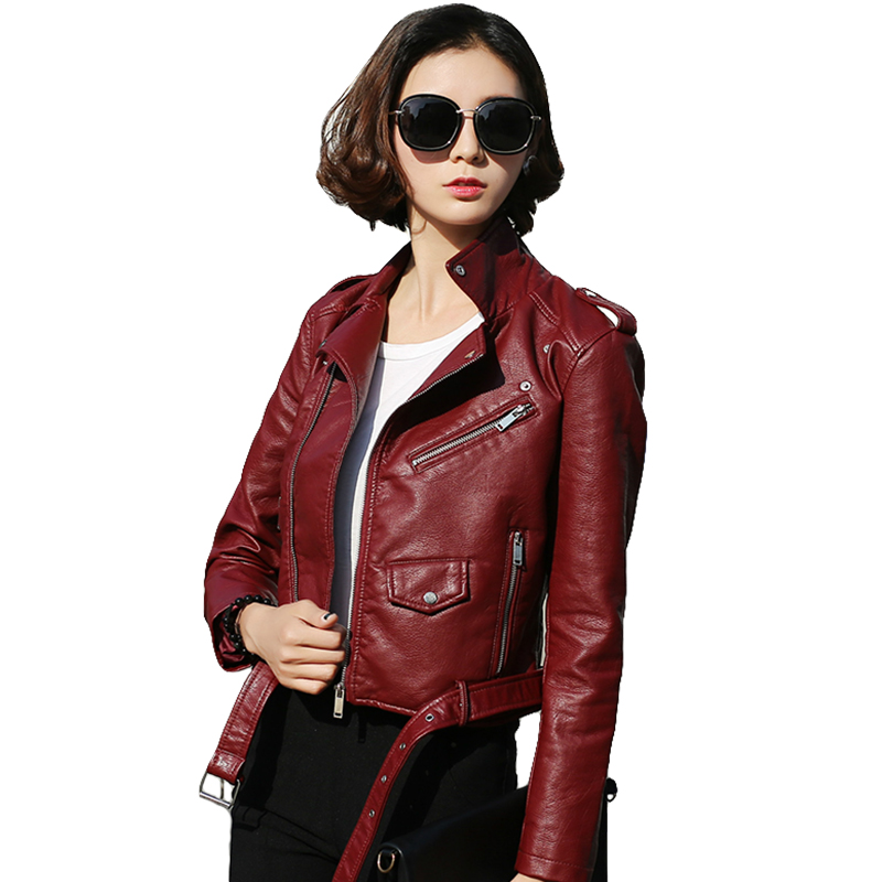 Ailegogo 2019 New Arrival Autumn Winter Motorcycle   Leather   Jackets Red   Leather   Jacket Women   Leather   Coat Slim Pu Jacket   Leather
