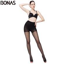 Bonas 6 ピース/ロット 30Dシームレスストッキング夏の女性のスリムセクシーな黒タイツ薄型ナイロンタイツプラスサイズの女性卸売