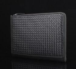 335x240mm nero del cuoio genuino documento A4 sacchetto della chiusura lampo di cuoio reale cartella per i documenti sacchetto di carta con bendaggio maniglia 1233B