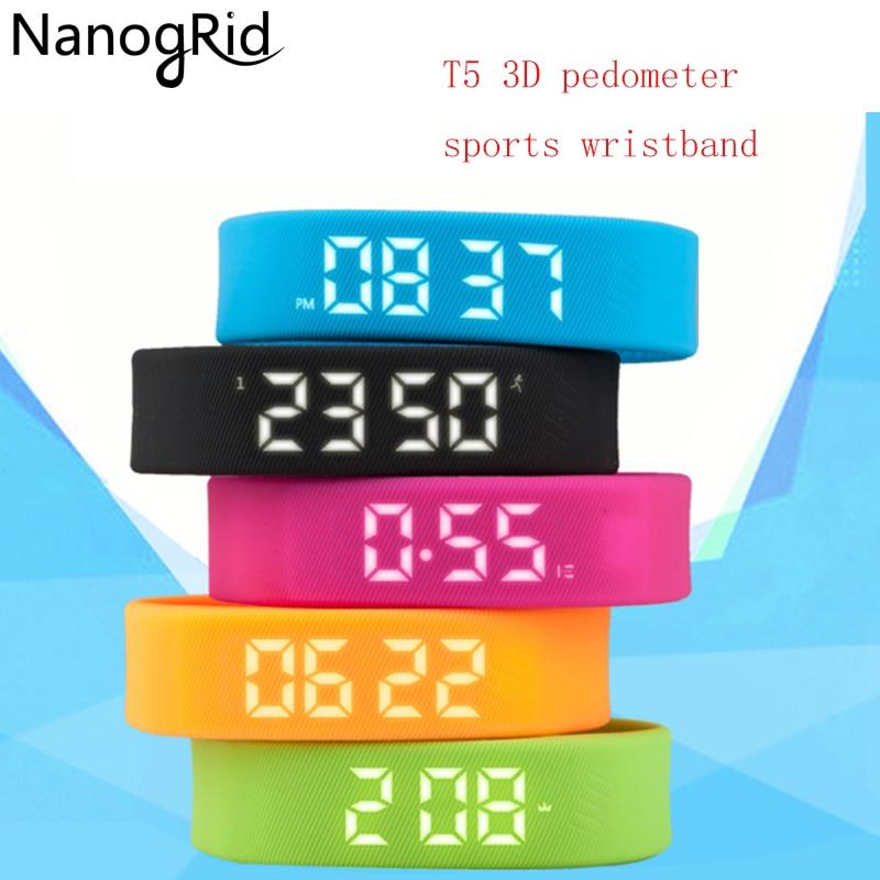 3D T5 Smart Wristbands Watches Children LED Display Sports Gauge Fitness Bracelet Pedometers Tracker Pedometer for Women Men