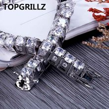 TOPGRILLZ Hip Hop New Fashion Iced Out Bling Jewelry Bracelet Gold Color Micro Pave CZ Stone Bracelets 10mm Width For Men Women(China)