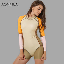 AONIHUA Swimwear Women 2018 Slim Rash Guards Patchwork 1 One Piece Swimsuits Push up Long sleeve Surfing  female Bathing Suit