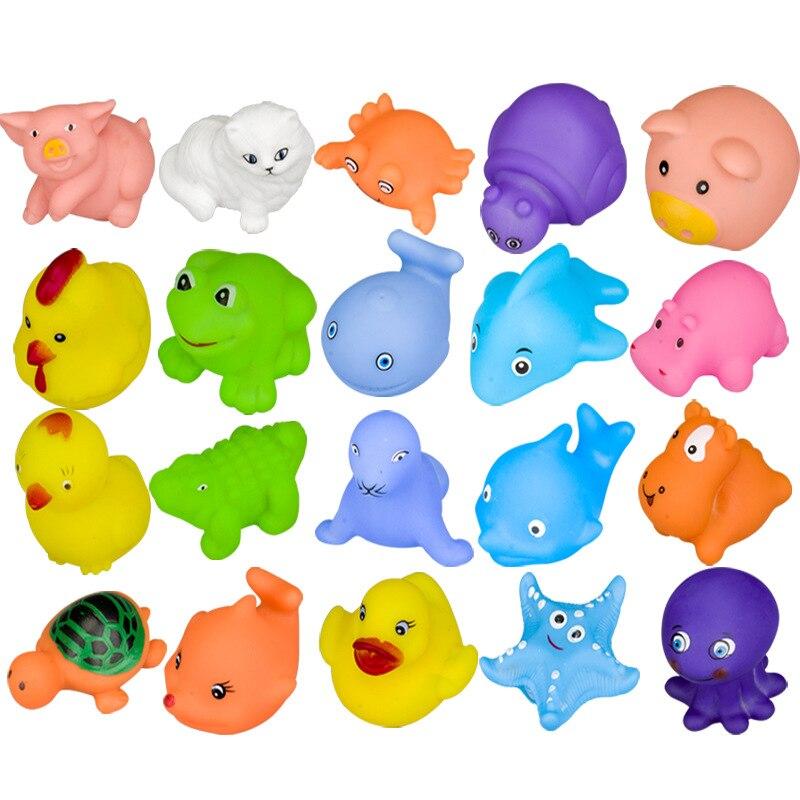 Baby Bath Toy Cartoon Animal Bathing Water Silicone Children Playing Toys - 20 Pcs