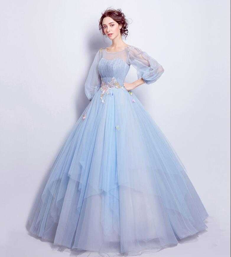 100% Real Photo Sky Blue Vestido De Formatura Imported Party Dress Plus Size Long Three Quarter Sleeve Keyhole Back Prom Dresses-in Prom Dresses from Weddings & Events    3