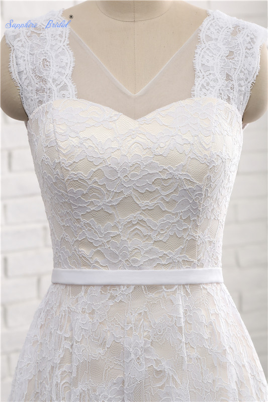 High Low Country Style Lace Short Wedding Dress