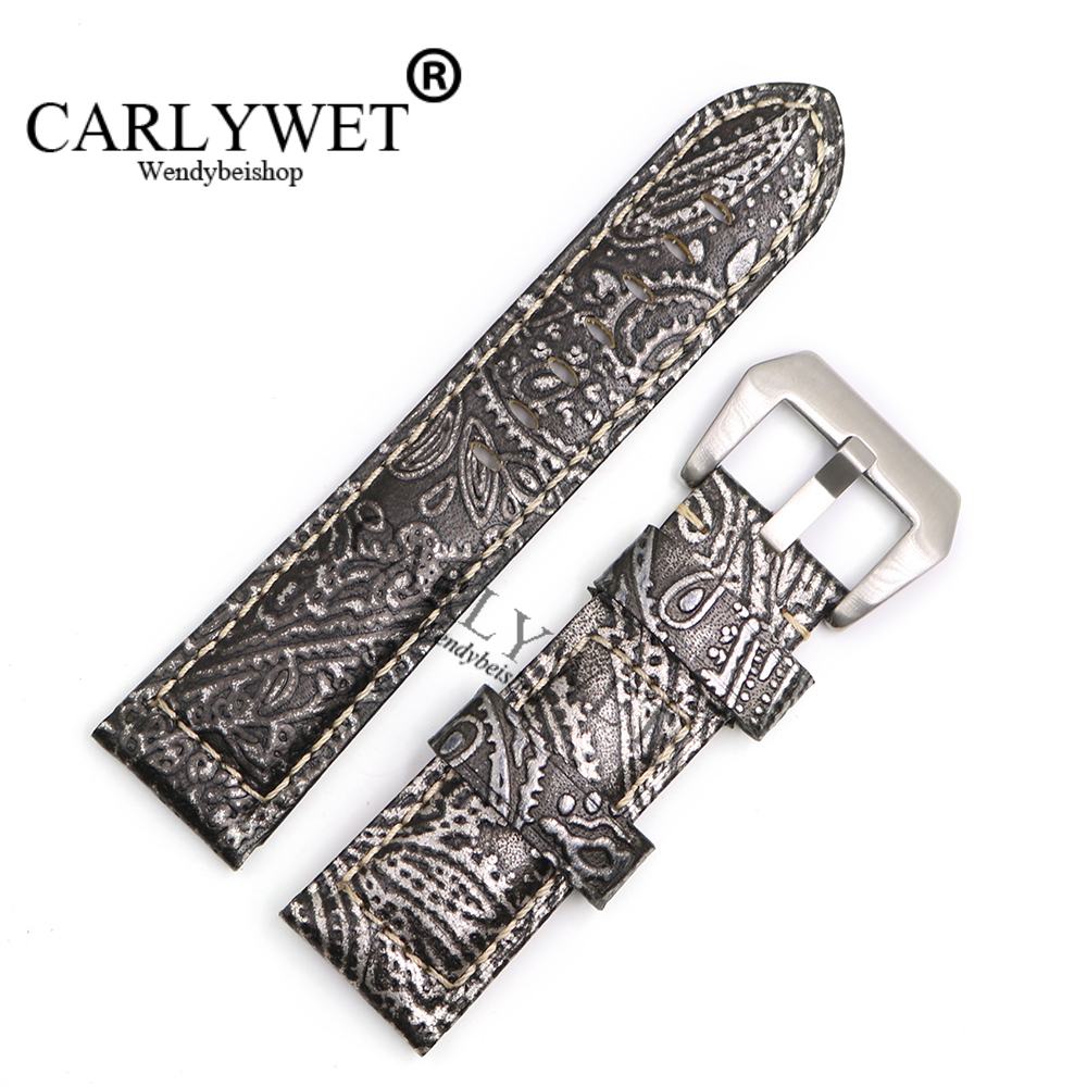 CARLYWET 22 24 26mm Wholesale Grey Pattern Real Leather Wrist Watch Band Strap Bracelet With Silver Brushed Pre V Screw Buckle