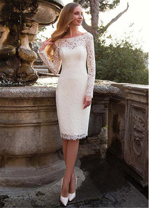 Image 3 - Tulle & Lace Bateau Neckline 2 In 1 Wedding Dress With Belt & Detachable Skirt Two Pieces Long Sleeves Bridal Dress