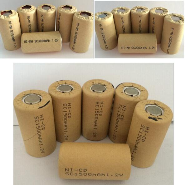 6PCS Ni-CD Ni-MH SC 1.2V 3000mAh -2000mAh Rechargeable Battery NIMH Cell Discharge Rate 10C-15C For Electronic Drill Power Tools