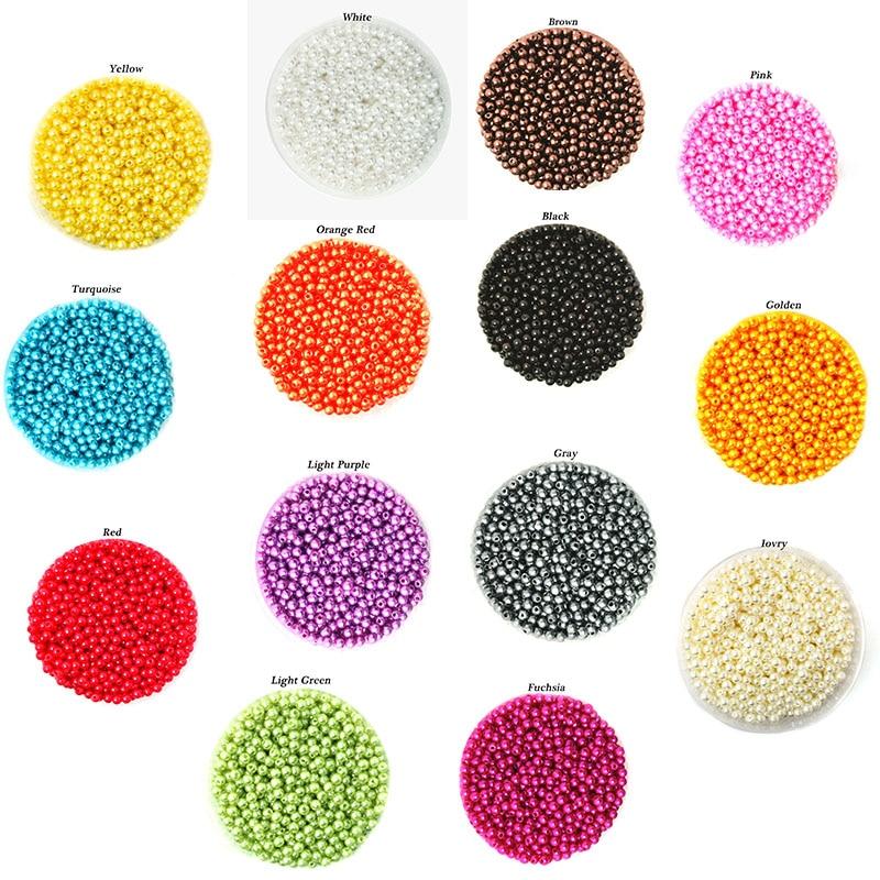 2000 шт. 4 мм ABS жемчуг, бисер круглый имитация Пластик шарики для изготовления ювелирных изделий Цепочки и ожерелья браслет DIY Аксессуары