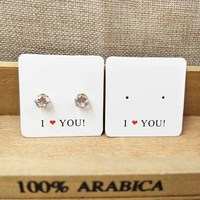 Custom logo jewelry display card personalized logo 300gsm white jewelry products cards 1000pcs payment compensation