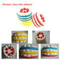 "3PCS RANDOM COLOR ""HOLES"" ""DYED"" Strawberry Cake squishy Slow Rising Cheap Clearance Free Shipping"