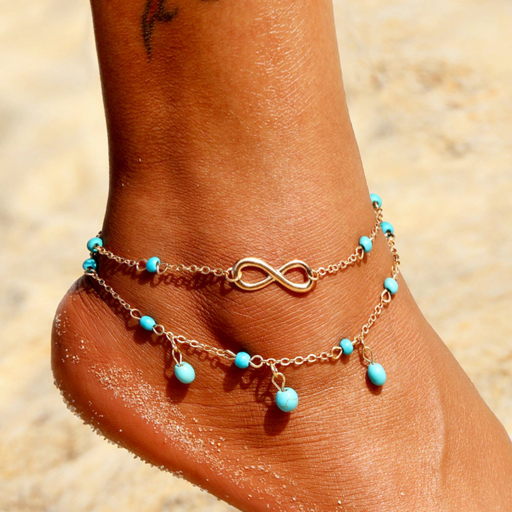 Bohemian Double Infinite Stone Beads Pendant Anklet Leg Chain For Women Summer Beach Anklets Charm Bracelet Foot Jewelry Gift