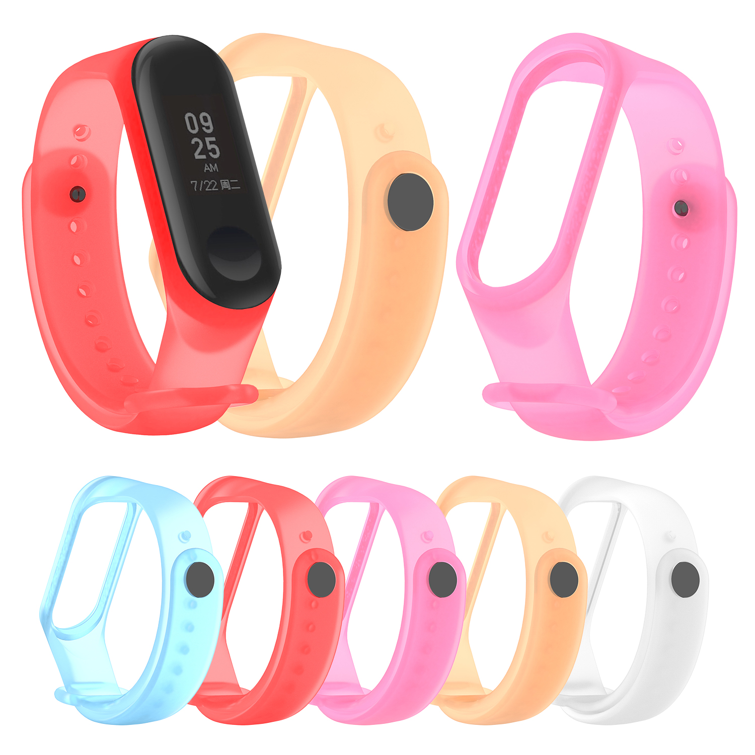 Colorful MiBand 4 Silicone Wrist Smart Strap Bracelet Transparent Color Replacement Watchband For Original Xiaomi Mi Band 4 Belt