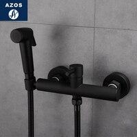 Azos биде кран под давлением душ сопла латунь черный холодной и горячей переключатель один Функция Туалет купальный балкон круглый PJPQR01