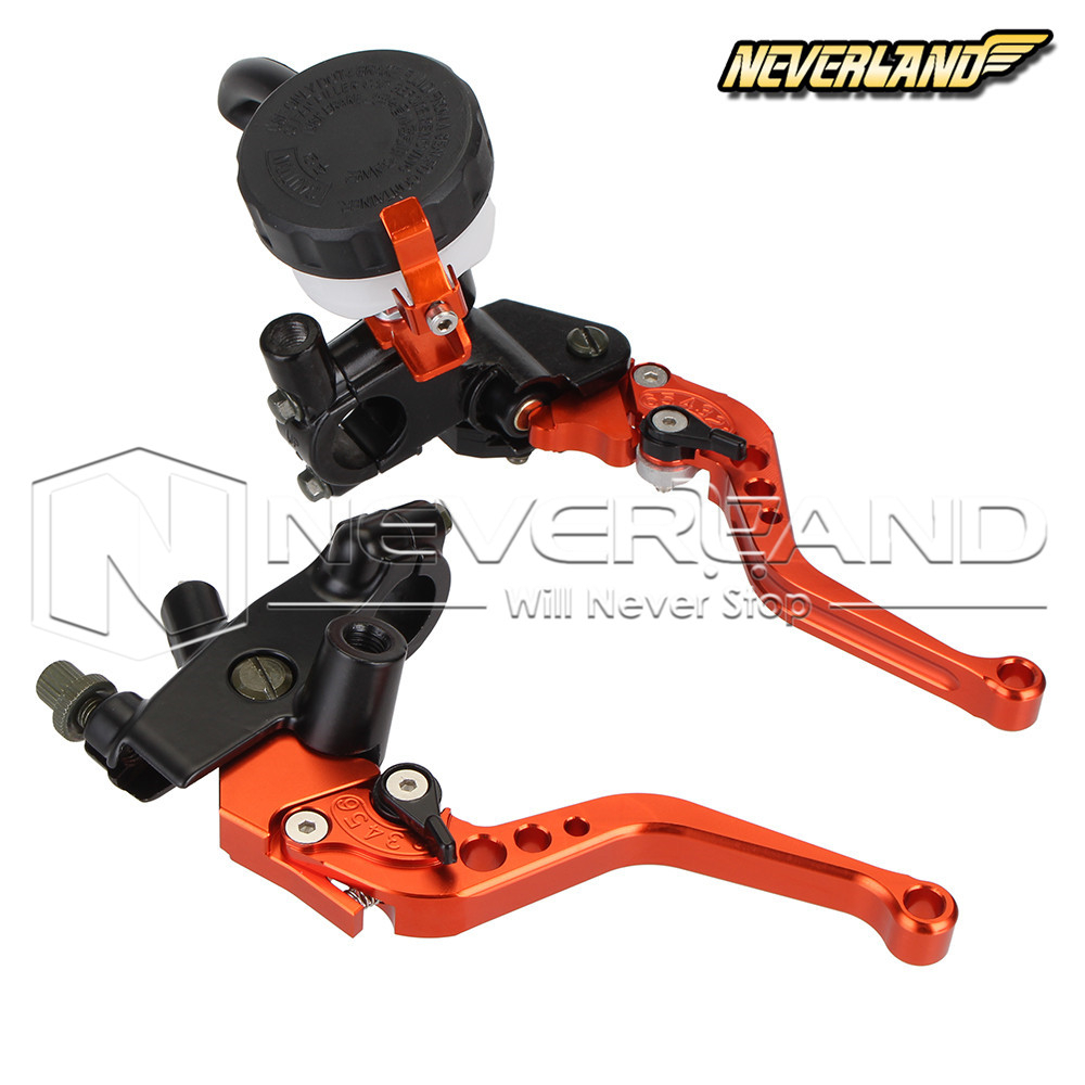 Universal CNC 7/8 22mm Orange Motorbike Brakes Clutch Levers Master Cylinder Reservoir For Honda Suzuki Kawasaki Yamaha D10 universal motorcycle brake fluid reservoir clutch tank oil fluid cup for mt 09 grips yamaha fz1 kawasaki z1000 honda steed bone