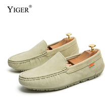 YIGER New Men Loafers Man Peas shoes men's lazy shoes genuine leather male driving shoes slip-on casual shoes soft and light 279 цены онлайн