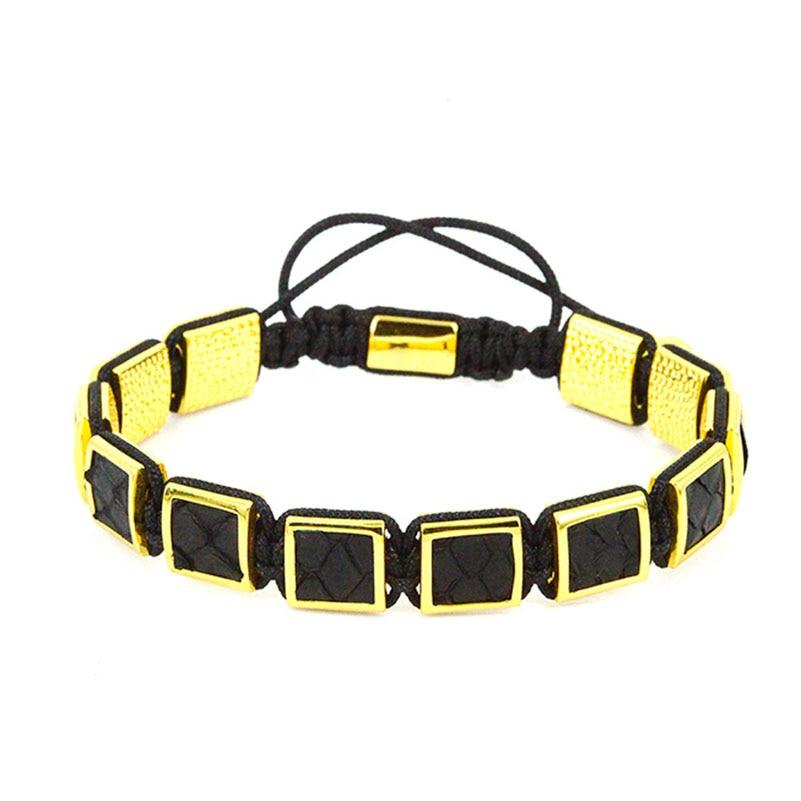 Black Genuine Leather Men Bracelets 2017 Hot Sale Gold Micro Pave CZ Beads Square Braiding Macrame Bracelets Pulseira Masculina ...