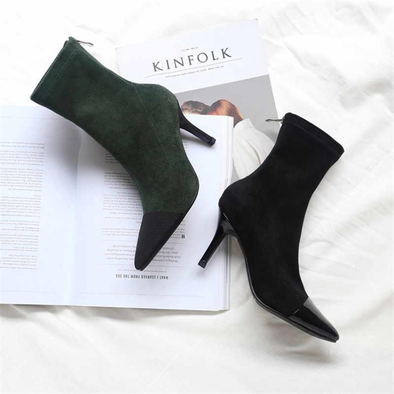Yüksek topuklu gladyatör kısa çizmeler parti patchwork sivri burun yarım çizmeler kadınlar için 2018 yeni streç çorap ayakkabı botas mujer