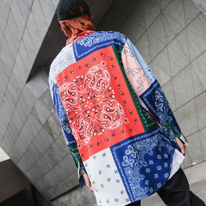 Image 2 - High street Patterned floral shirts men Long sleeve Extra long Red Blue White Loose 2019 Fashion