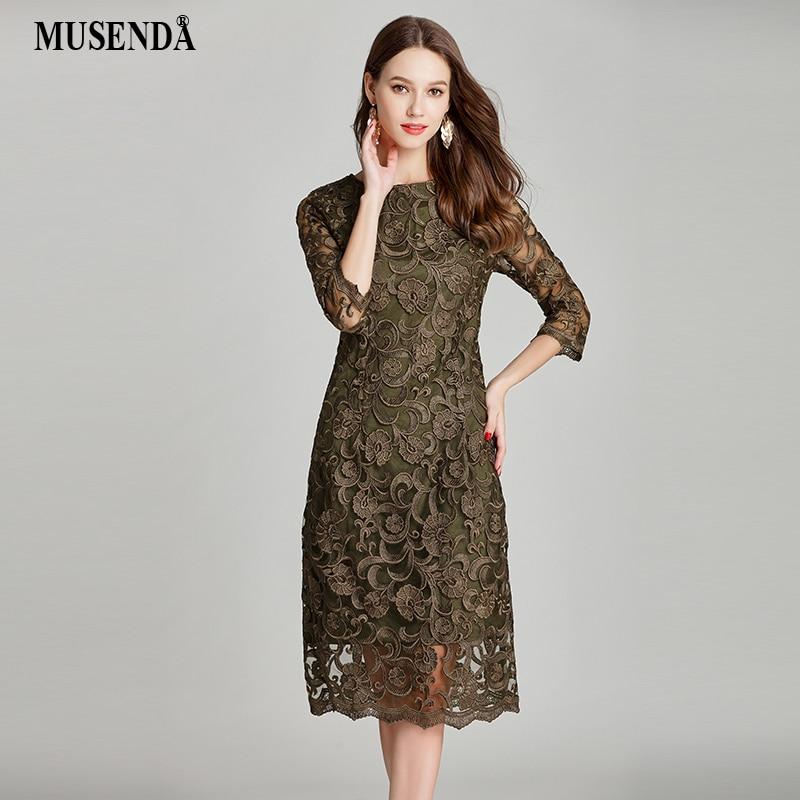 MUSENDA плюс размеры для женщин Arm зеленый кружево вышивка туника платье Новый 2018 Летний Сарафан женский Дамы Винтаж элегантное вечернее
