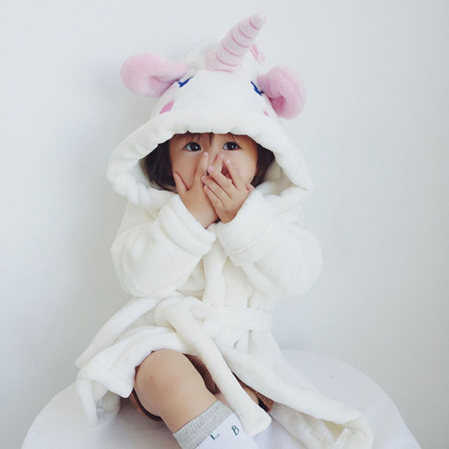 Baby Boys Girls Pajamas Cartoon Unicorn Flannel Robe Autumn Winter  Sleepwear Kids Bathrobes Children Pajamas Pyjama Kigurumi e6dbf9588
