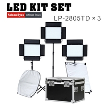 Falconeyes 140W Video Light LED Light Panel CRI95 with DMX system Dimmable LED Studio Continuous lighting LP-2805TD kit capsaver 2 in 1 kit led video light studio photo led panel photographic lighting with tripod bag battery 600 led 5500k cri 95