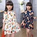 spring autumn girls dresses baby o-neck long sleeve casual floral printed beautiful rose pattern beige dark blue dress children
