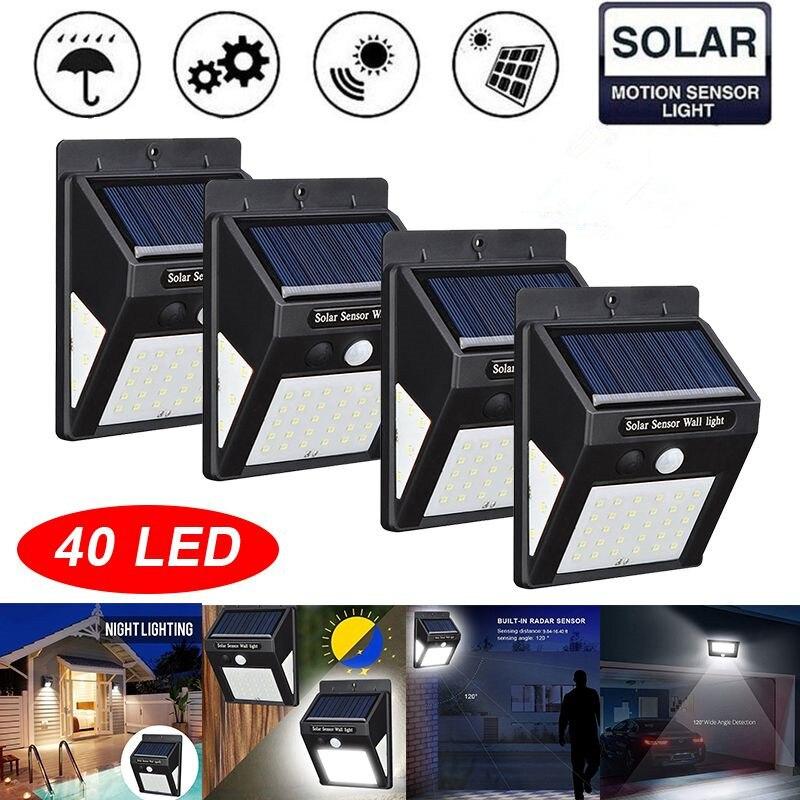 4 Pack 40 IP65 DIODO EMISSOR de Luz Solar Lâmpada de Parede Sensor de Movimento PIR À Prova D' Água Do Jardim Ao Ar Livre Luzes de Segurança Luz Solar do Diodo Emissor parágrafo Exterior