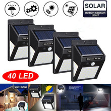4 Pack 40 LED Solar Light Wall Lamp PIR Motion Sensor Waterproof IP65 Outdoor Garden Security Lights Luz Solar Led Para Exterior 4 pack radar sensor solar rechargeable led wall light outdoor garden lights waterproof outdoor led lights for solar power