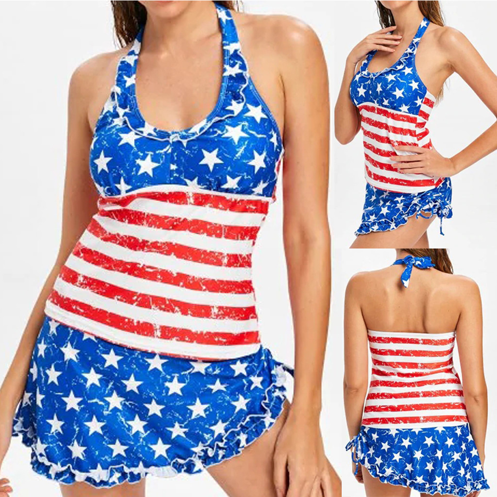 Women American Flag The Fourth Of July 2 Piece 2019