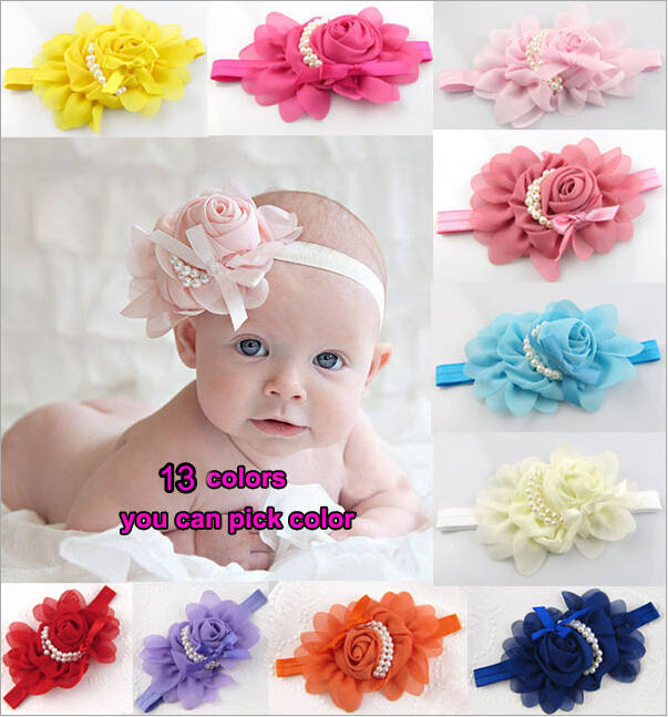 Baby Headbands 2015 Haarband Baby Girl Flower Headband with Pearl Coleteros Para El Pelo Kids Hair Accessories Baby Head Band