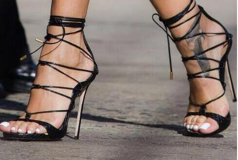 2017 fashion women lace up sandals thin heel sexy gladiator sandals open toe sexy party shoes women ankle strap high heels new 2017 hot selling fashion women luxury sexy black gladiator cuts out open toe lace up back 100 mm phaedra peacock sandals