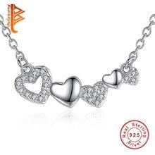 BELAWANG Clásico Collar de Plata de Ley 925 Corazón de Cristal Austriaco 45 CM Cadena Larga Colgantes y Collares para Las Mujeres de La Joyería