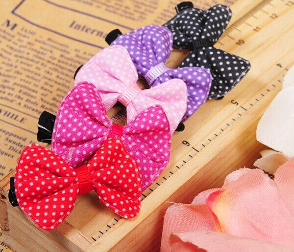 30 unids perros gatos moda dot bowknot tocado horquilla accesorios perrito lindo