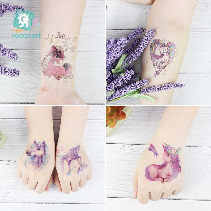 Rocooart 1 levha geçici dövme etiket renkli sahte dövme boynuzlu at flaş flaş dövme su geçirmez küçük vücut sanatı Taty çocuklar için