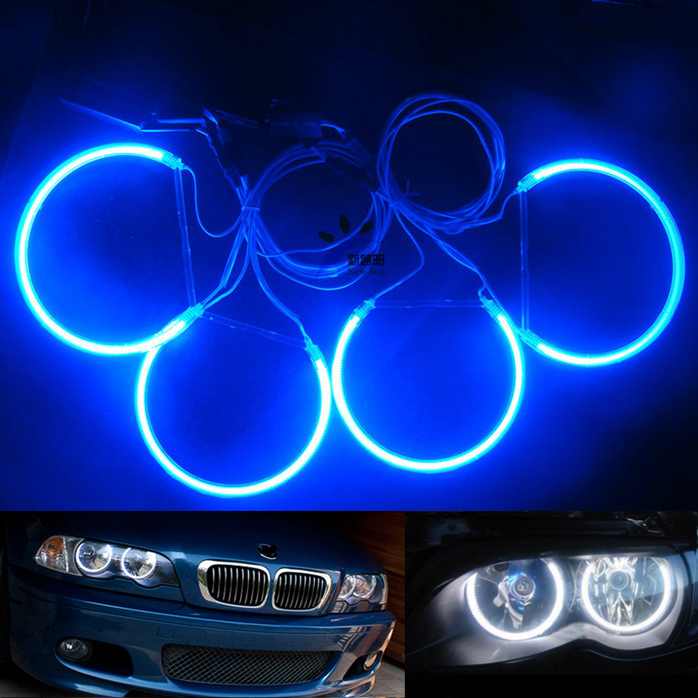 12v White Blue E46 Sedan Or Coupe Ccfl Angel Eyes Kit 131 And 146 Mm Rings 2big Rings 2small